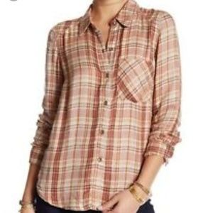 XS Free People Plaid Joplin Top